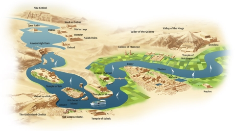 Nile cruise itinerary map